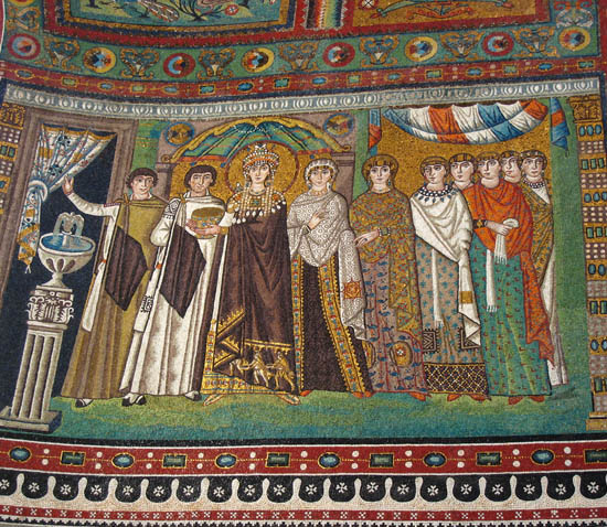 The above mosaic image of Theodora and her attendants is from Ravenna,