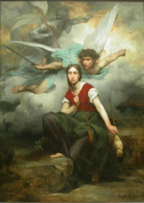 The Archangel Michael exhorting Joan of Arc to join the battle for France. Considered an example of French Catholic mysticism, this painting is by Eugene Thirion, around 1876.