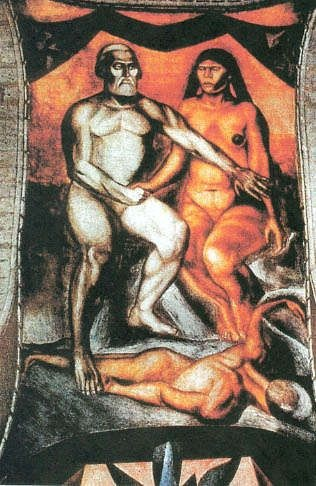 Jos� Clemente Orozco's Painting of Cort�s and Malinche as Adam and Eve. Is the figure beneath them Mexico? It is hard to see this as anything other than a negative image.