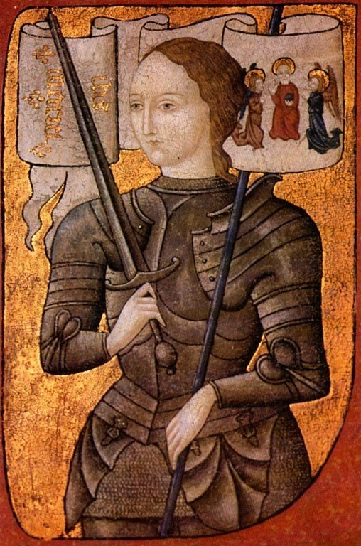 A miniature of Joan of Arc, painted some time between 1450 and 1500. Notice the three saints sitting above her shoulder.