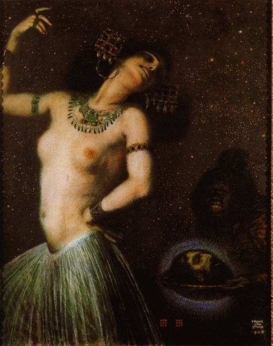 Salome, as painted by Bavarian painter Franz von Stuck in 1906 when she was very much in vogue because of Mahler's opera the previous year. Von Stuck's paintings would later be admired by Hitler.